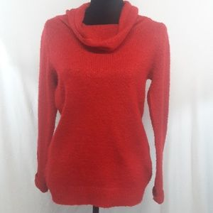Red Cowl Neck Acrylic Knit Sweater Turtleneck M
